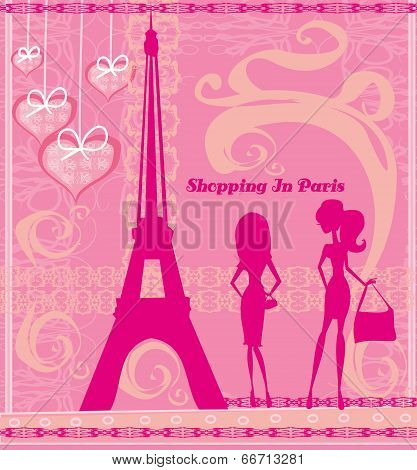 Shopping In Paris, Beautiful Pink Abstract Card