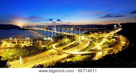 Tsing Ma Bridge sunset , hong kong landmark