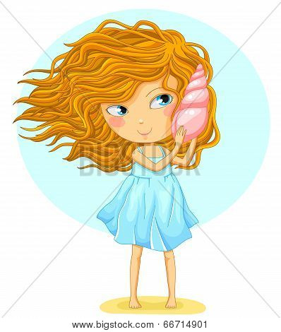 girl with a seashell