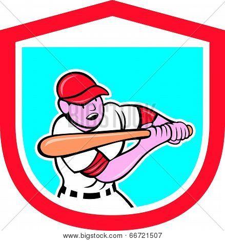 Baseball Player Batting Shield Cartoon