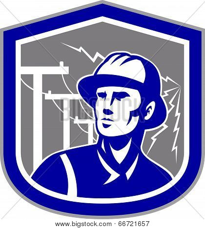 Illustration of a power lineman telephone repairman worker looking to side set inside shield crest with electric lightning post in the background done in retro style. poster