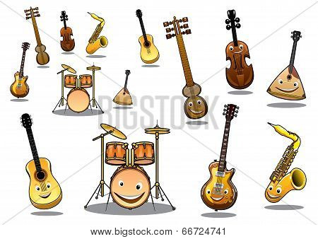 Large collection of musical instruments with happy cartoon faces including a zither, guitar, saxophone, electric guitar, violin and a set of drums poster