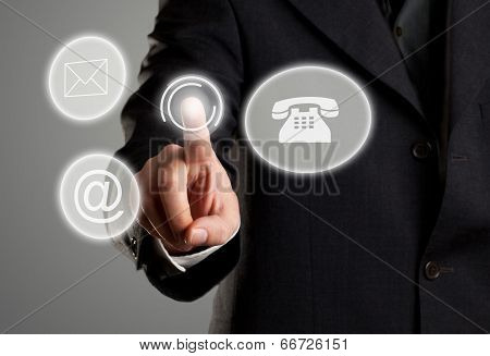 Contact Display With Mail, E-mail And Phone Icons