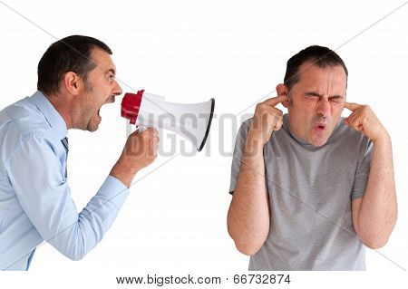 Boss Yelling At A Subordinate Megaphone