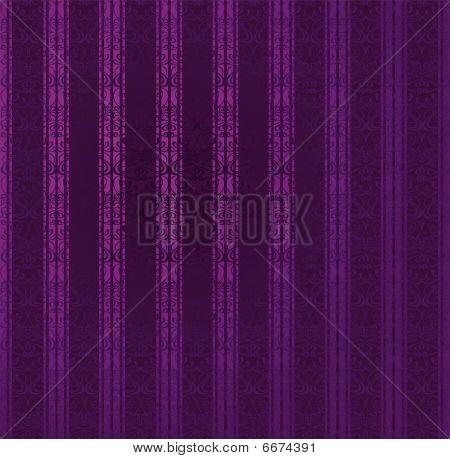 Purple Stripe Ornate Seamless Wallpaper. Vector Illustration.