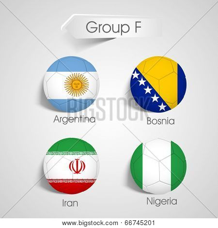 Group F Teams Argentina, Bosnia, Iran and Nigeria countries flags   poster