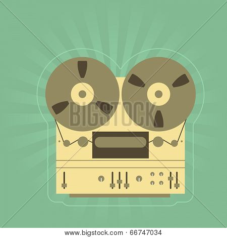Retro open-reel tape recorder (magnetophone)