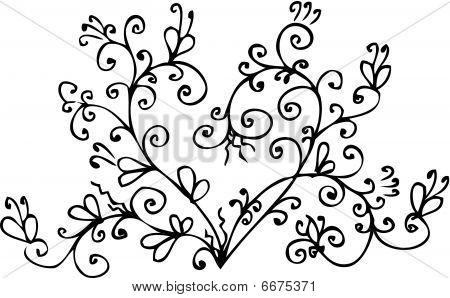 Eau-forte black-and-white swirl romantic heart vignett pattern decorative vector illustration. poster