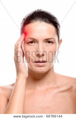 Young Naked Woman With A Headache