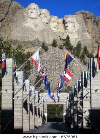 Mt Rushmore Flags Waving