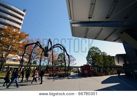 Tokyo, Japan - November 23: People Visit The Spider Sculpture In Roppongi Hills