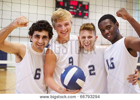Members Of Male High School Volleyball Team