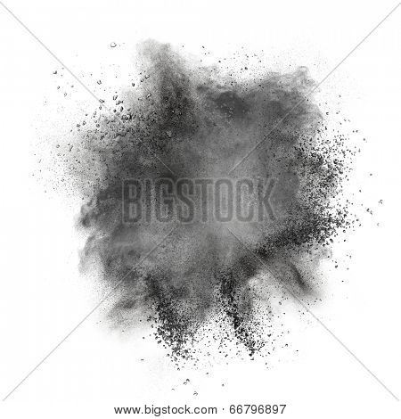 Black powder explosion isolated on white background