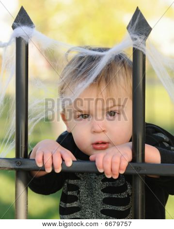 Young boy resting against cemetery fence