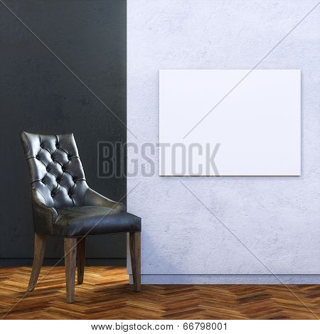 Gallery Interior with Leather Chair and Empty Frame on Wall