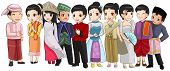 Group of Southeast Asia people with different race and culture in cute cartoon illustration design representing ASEAN organization (vector) poster