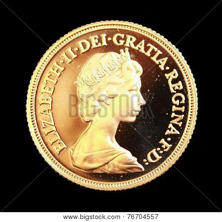 1980 Australian Gold sovereign on black background