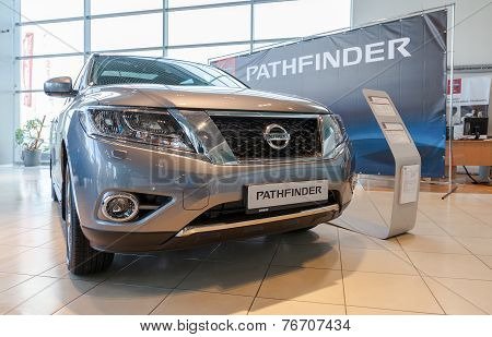 Samara, Russia - November 16, 2014: Nissan Pathfinder In The Showroom Of Official Dealer. Nissan Is