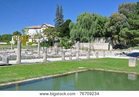The Extensive Roman Ruins At Vaison-la-romaine, Provence, France.