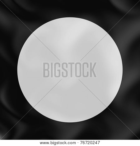 White Circle On Black Silk 3D Abstract Background