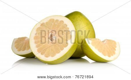 Four Pomelos,half,quarter Isolated On White