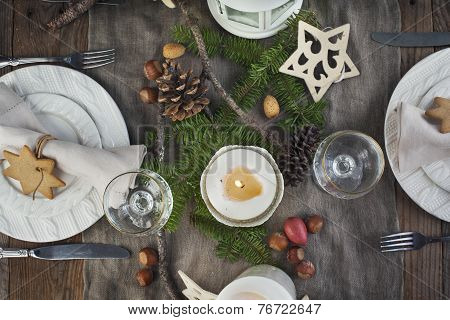 Christmas Table Setting. Holiday Decorations. Top View
