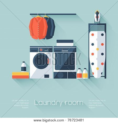 Laundry Room With Washing Machine And Dryer. Flat Style With Long Shadows. Modern Trendy Design. Vec