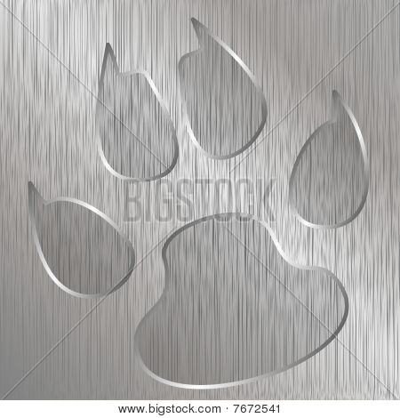 Illustration of cat paw on a metal plate engraved. poster