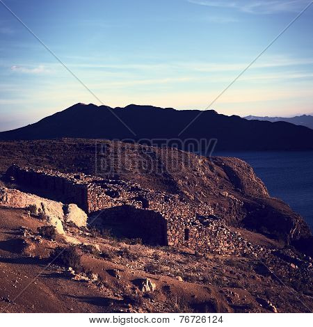 Ruins of Chinkana on Isla del Sol on Lake Titicaca, Bolivia