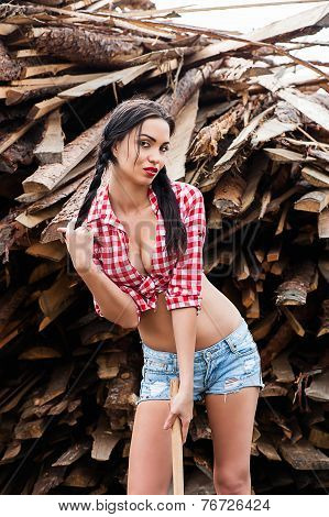 sexy woman in plaid shirt
