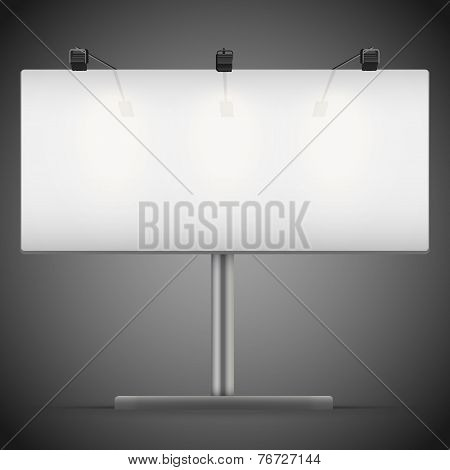 Empty wide mockup billboard with spotlights and illuminated at night. Vector Illustration.