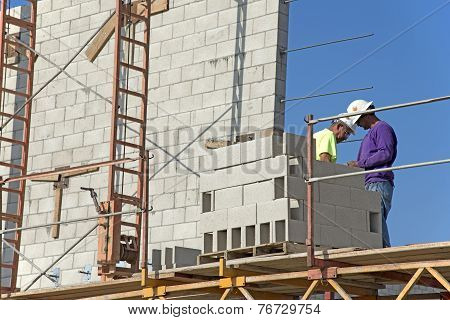 Unloading Concrete Block