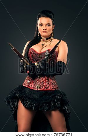 Girl with vintage guns in steampunk style poster