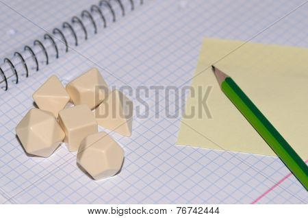 Open Exercise Book With Sticky Card, Pen And Blank Rpg Dices