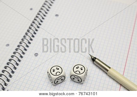 Open Exercise Book With Mood Dice (angry)