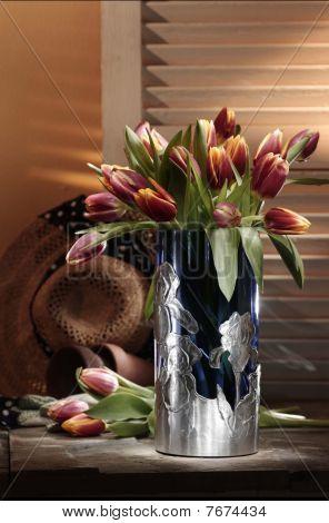 pink tulip flowers in vase
