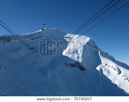 Scex Rouge summit station. Cable car to the Glacier De Diablerets. poster