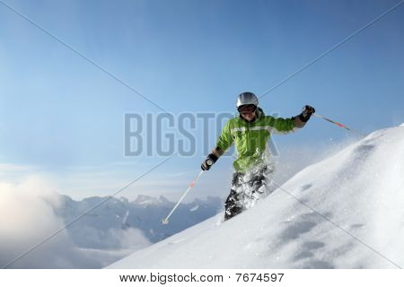 Powder Snow with Mountains