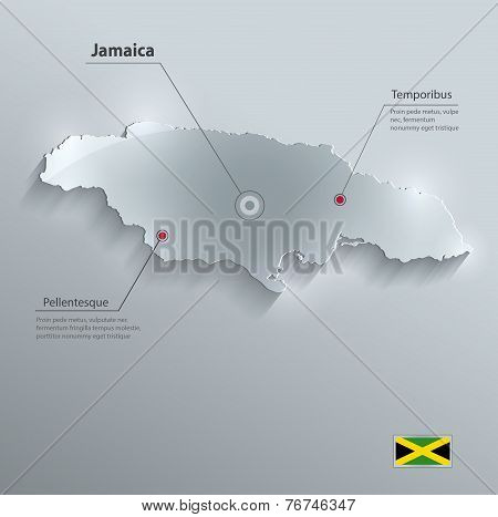 Jamaica map flag glass card paper 3D vector
