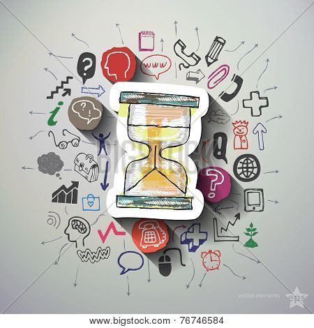 Hourglass collage with icons background