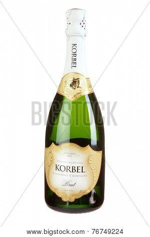 Hayward, CA - November 23, 2014: 750mL bottle of  Korbel Methode Champenoise California Champagne Sparkling Wine