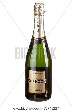 Hayward, CA - November 23, 2014: 750mL bottle of  Chandon Methode Traditionelle California Champagne Sparkling Wine