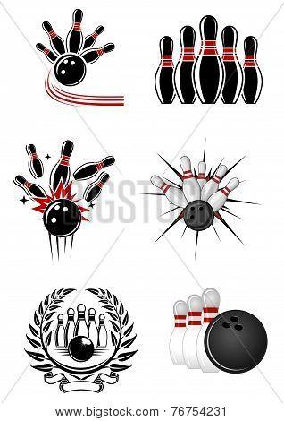 Bowling sports emblems and symbols