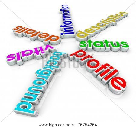 Profile words in 3d letters for a biography or summary of your life, including status, description, information, details, vitals and background