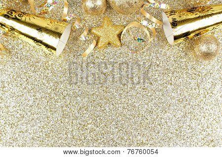 New Years Eve border on shiny gold background
