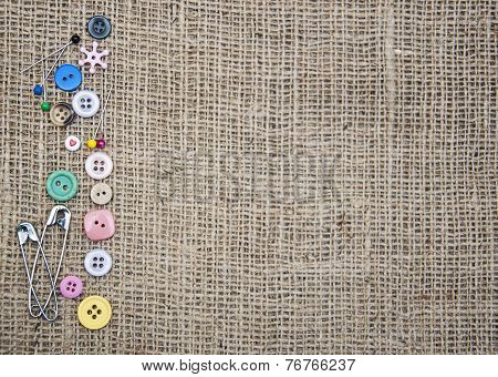 Accessory of the tailor - sewing background poster