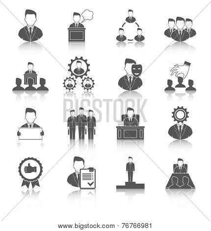 Executive employee people management leadership and teamwork black icons set isolated vector illustration poster