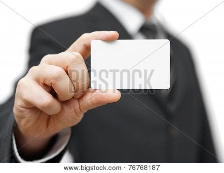 Businessman Hold Business Card , Contact Us Concept