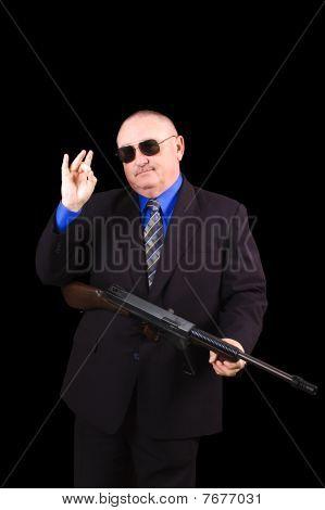 Gangster oder Regierung-Agent, fbi-Agenten auf einem schwarzen Hintergrund