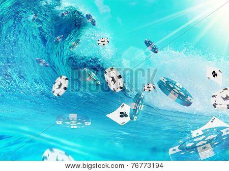Big Ocean Wave and Flying Gambling Chips